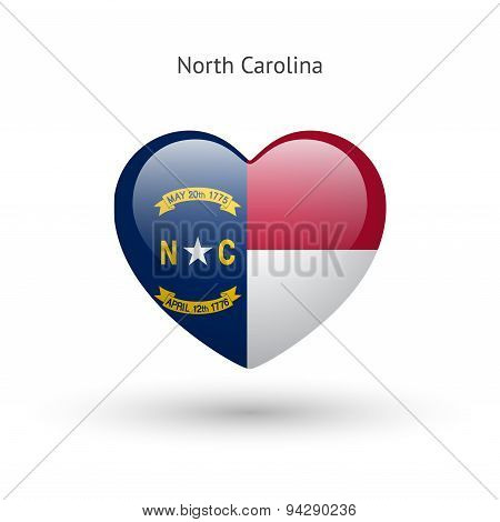 Love North Carolina state symbol. Heart flag icon.