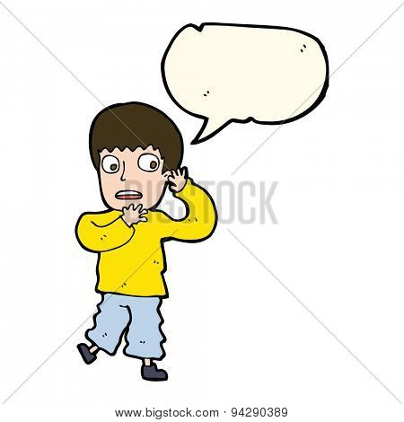 cartoon frightened boy with speech bubble