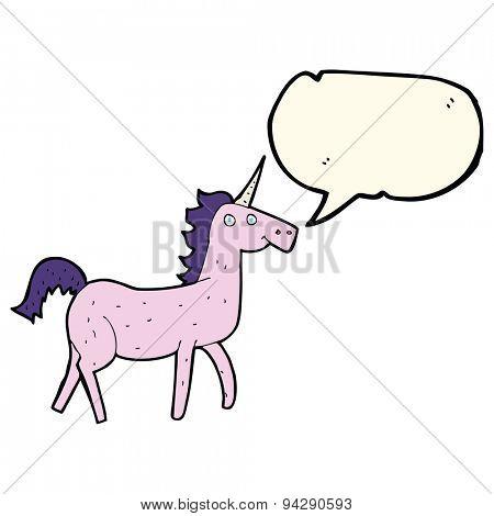 cartoon unicorn with speech bubble