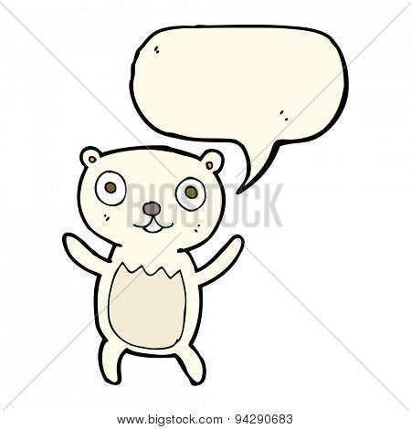 cartoon polar bear cub with speech bubble