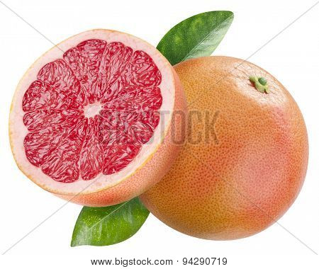 Ripe grapefruit and the half of grapefruit. File contains clipping paths.