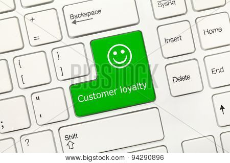 White Conceptual Keyboard - Customer Loyalty (green Key)