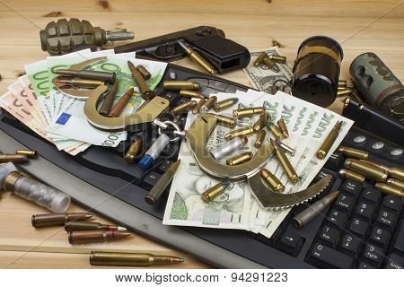 Internet illegal arms trade. Merchant arrest illegal ammunition. Internet crime.