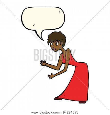 cartoon woman in dress gesturing with speech bubble