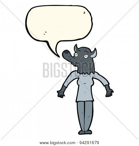 cartoon werewolf woman with speech bubble