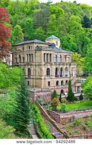 HEIDELBERG, GERMANY - APRIL 26: Architectural Exterior of Villa Lobstein Perched on Lush Green Hillside Overlooking Heidelberg, Baden-Wurttemberg, Germany on April 26, 2015
