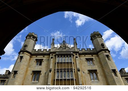 CAMBRIDGE, ENGLAND - MAY 13: Low Angle View of Gothic Architecture from Beneath Arch at New Court, St Johns College, University of Cambridge, England on May 13, 2015