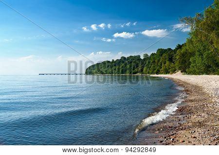 Empty beach at the sea bay