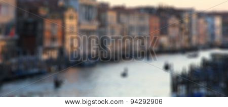 Italy. Venice.the Famous Grand Canal At Sunset. In Blur Style