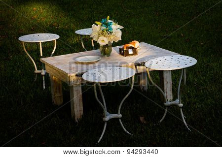 Small table in garden