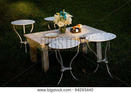 Small table in garden