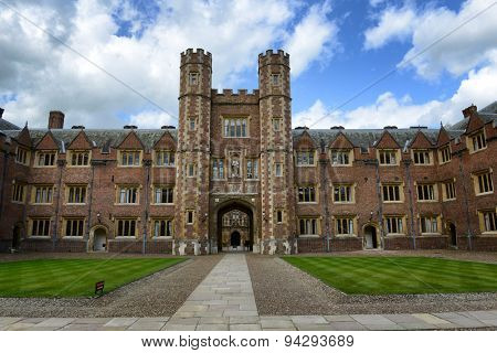 CAMBRIDGE, ENGLAND - MAY 13: Tower of Second Court, an Example of Tudor Architecture, Leading to Third Court on Campus, St Johns College, University of Cambridge, England on May 13, 2015