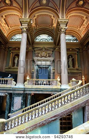 CAMBRIDGE, ENGLAND - MAY 13: Ornate interior and grand staircase of the Fitzwilliam Museum in Cambridge, UK, which houses antiquities and fine art on May 13, 2015