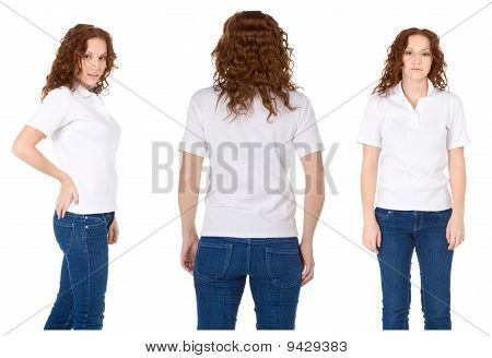 Young Redhead Woman In White Polo Shirt And Jeans (multiple Angles)