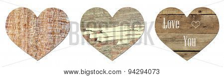 Vintage wooden hearts isolated on white