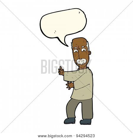 cartoon angry old man with speech bubble