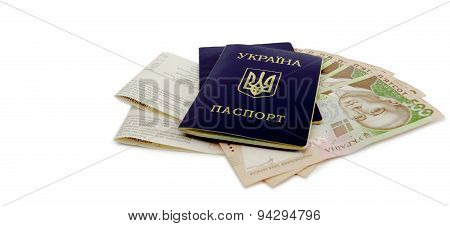Ukrainian passport and money
