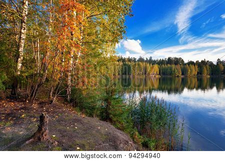 autumnal lake near the forest  under blue sky