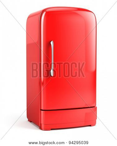 Red Retro fridge isolated on white background