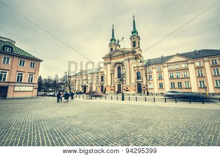 Warsaw, Poland - March 08, 2015: Streets and buildings in the center of Warsaw, Poland