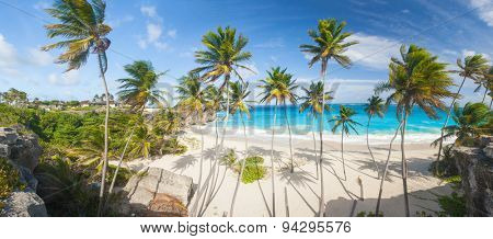 Bottom Bay is one of the most beautiful beaches on the Caribbean island of Barbados. It is a tropical paradise with palms hanging over turquoise sea. Panorama