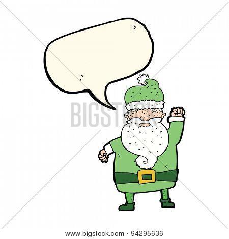 cartoon angry santa claus with speech bubble