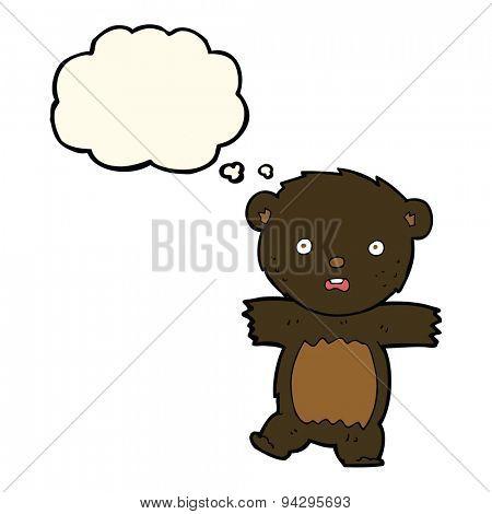 cartoon shocked black bear cub with speech bubble