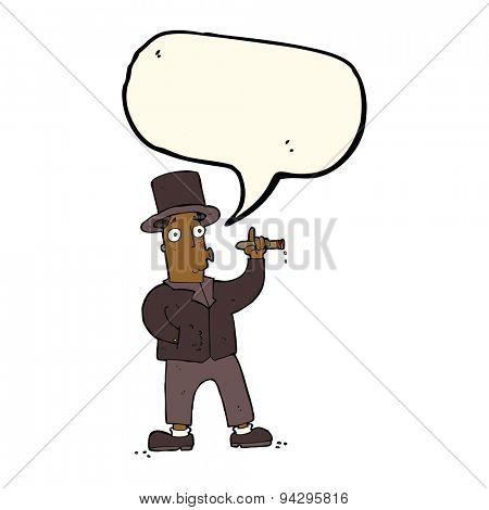 cartoon smoking gentleman with speech bubble