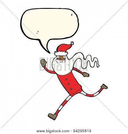 cartoon running santa with speech bubble