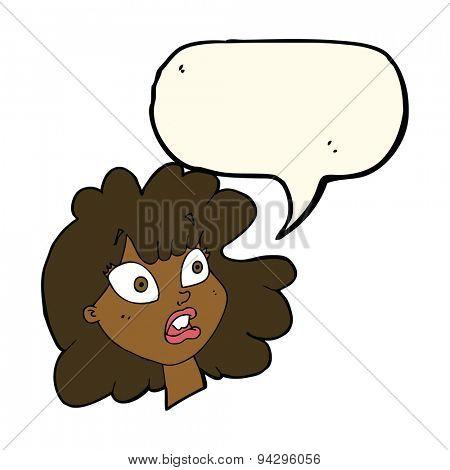 cartoon shocked female face with speech bubble
