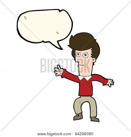 cartoon man waving with speech bubble