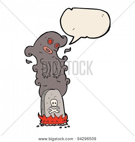 cartoon haunted grave with speech bubble