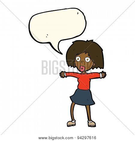 cartoon surprised woman with speech bubble