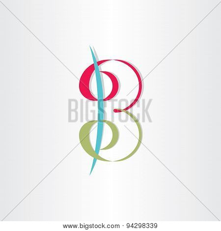 Letter B With Spirals Number 3 Icon