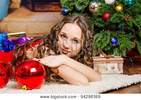 Girl Dreams Of Lying On The Christmas Tree