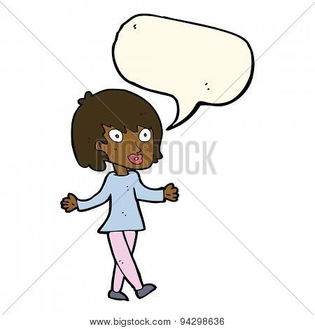 cartoon woman with open arms with speech bubble
