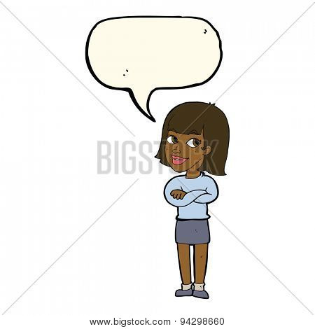 cartoon happy woman looking over with speech bubble
