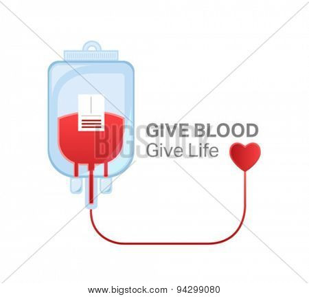 Digitally generated give blood give life vector