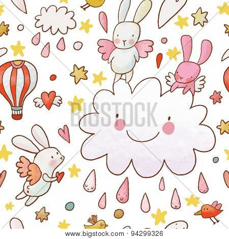 Lovely childish background made of cartoon signs: lovely rabbits, hearts, stars, clouds and air balloon in the sky. Sweet congratulation card in vector. Awesome seamless pattern in cartoon style