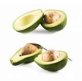 picture of foreshortening  - Avocado alligator pear fruit composition isolated over white background - JPG