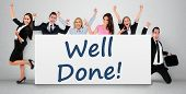 stock photo of job well done  - Well done word writing on banner - JPG