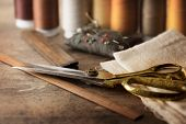 stock photo of tailoring  - Sewing textile or cloth - JPG