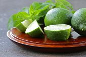 picture of mint-green  - Fresh natural organic green lime with mint leaves - JPG