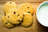 picture of baked raisin cookies  - Shortbread cookies with raisins and a glass of milk - JPG