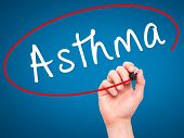 picture of asthma  - Man Hand writing Asthma with black marker on visual screen - JPG