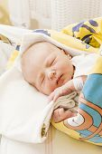 picture of maternity  - portrait of a newborn baby girl in maternal hospital - JPG