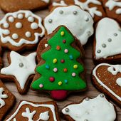 picture of christmas cookie  - Christmas Gingerbread Cookies Tree homemade on wooden table - JPG