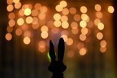 stock photo of hare  - hare ears on the background of holiday garland - JPG