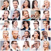 image of people talking phone  - Collage of diverse multi - JPG