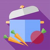 foto of saucepan  - Vector retro flat  saucepan with vegetables icon - JPG